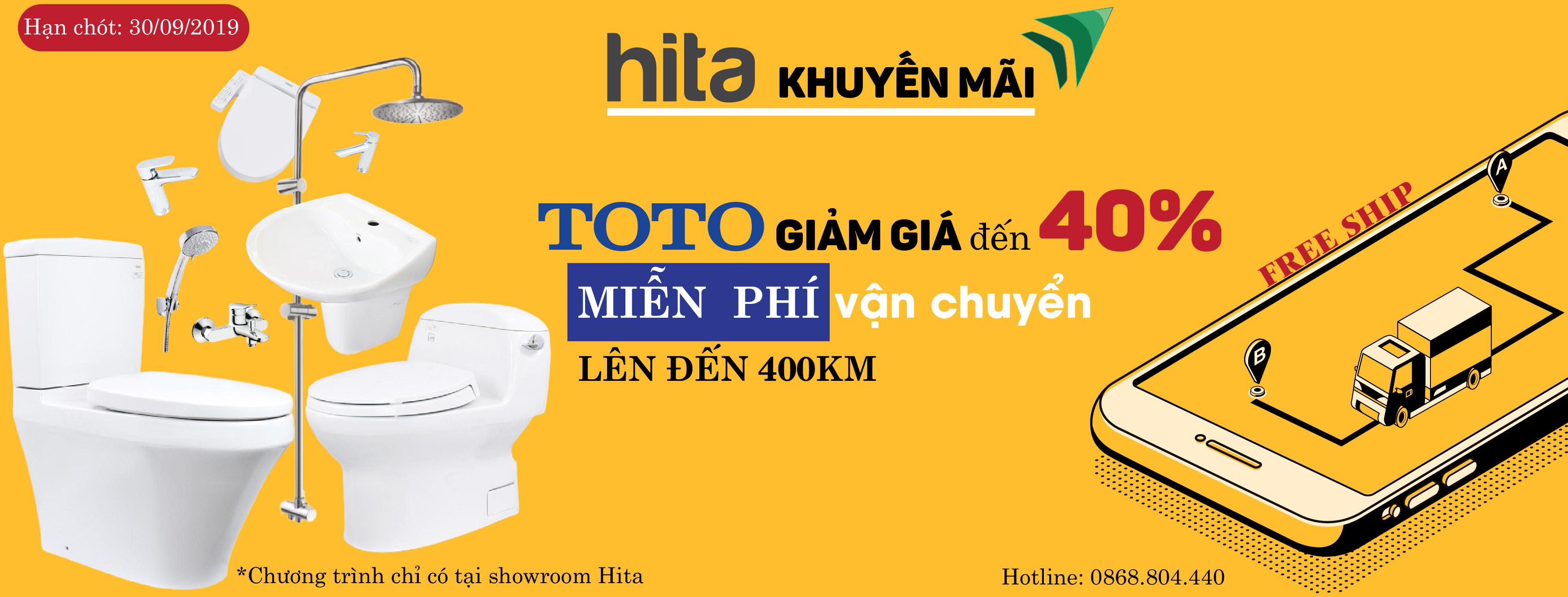 Khuyến mãi miễn phí vận chuyển thiết bị vệ sinh TOTO lến đến 400Km
