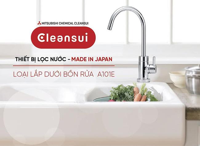 Thiết bị máy lọc nước dưới bồn rửa Mitsubishi Cleansui EU101 (mã cũ A101E) lắp trong tủ bếp để ngầm