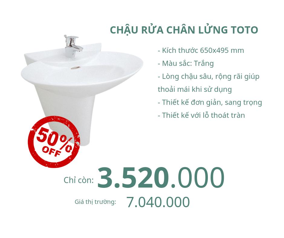 Chậu rửa chân lửng Toto LW908CKS/LW908HFKS giảm 50%
