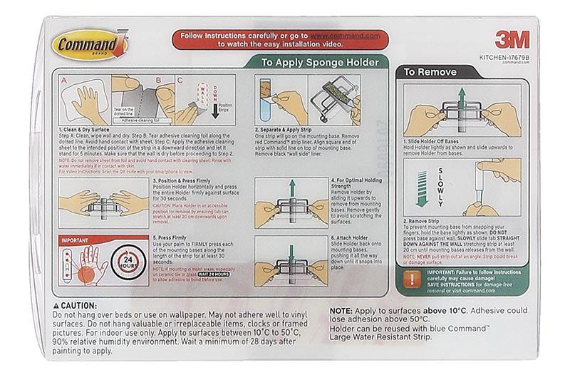 hướng dẫn sử dụng Khay đựng miếng mút rửa chén inox Command 3M mã số DAAN1C-A90084PBJ