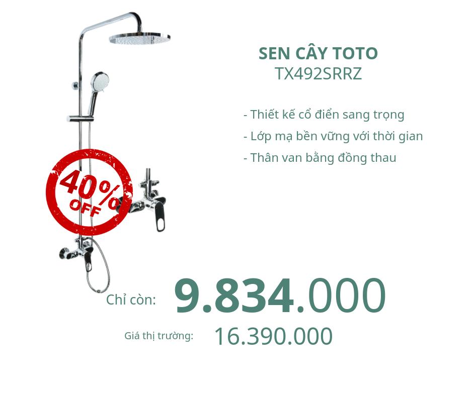 Sen cây tắm nóng lạnh Toto TX492SRRZ giảm 40%