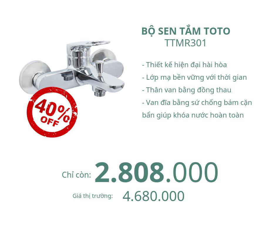 Bộ sen tắm Toto TTMR301nóng lạnh giảm 40%