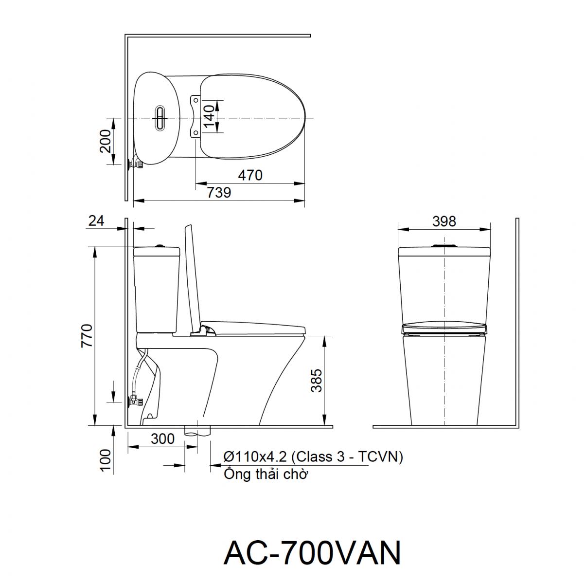 Bồn cầu 2 khối Inax AC-700VAN
