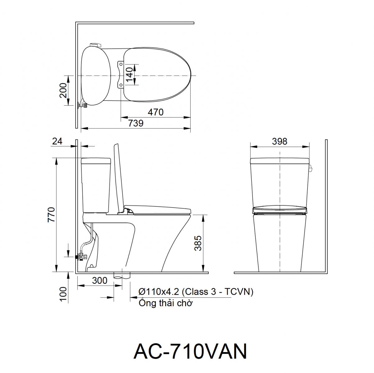 Bồn câu 2 khối Inax AC-710VAN