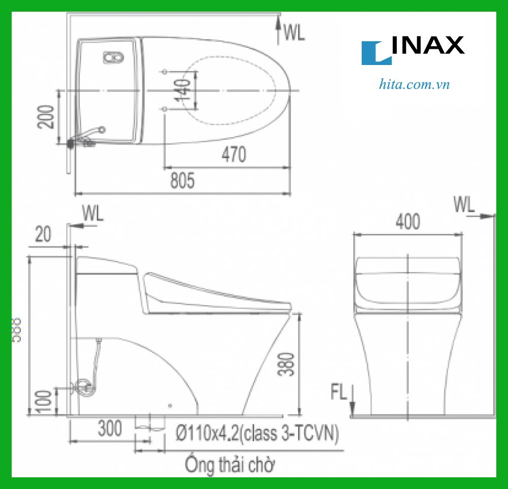 Bồn cầu 1 khối INAXAC-1017VRN