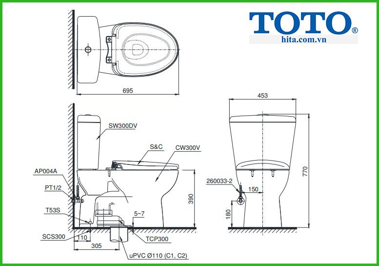 Bồn cầu 2 khối Toto CS300DRT3 (CST300DSS)