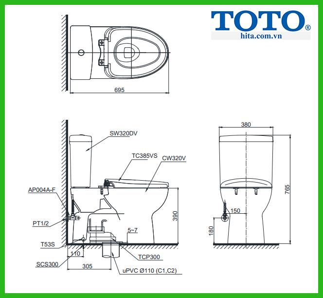 Bồn cầu 2 khối Toto CS320DRT3