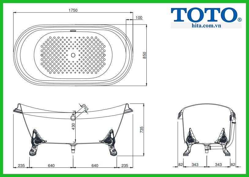 Bồn tắm gang tráng men Toto FBY1756PWGE#W
