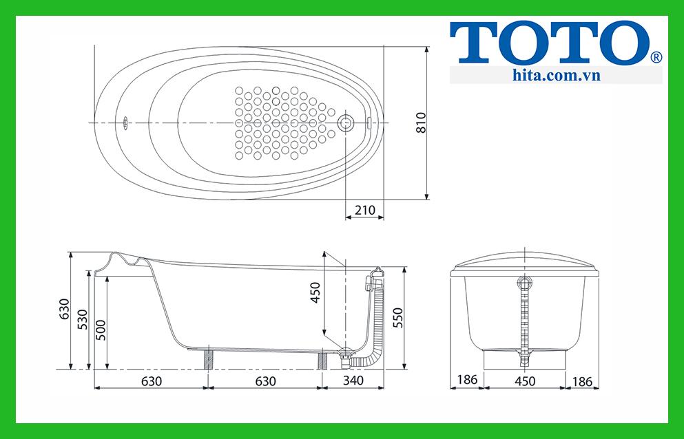Thống số kỹ thuật của bồn tắm TOTO PPY1610HPWE#P