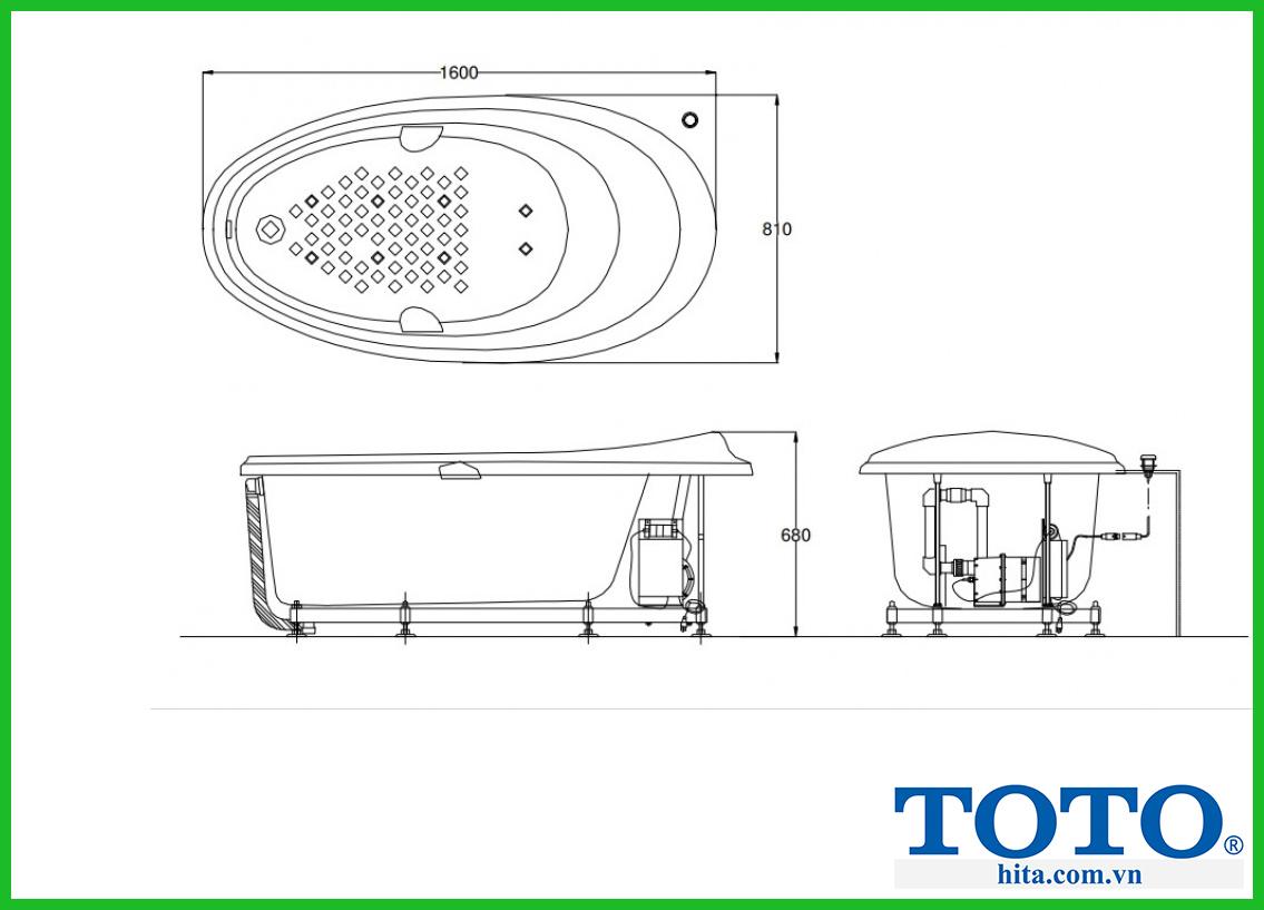 điểm nổi bật từ thông số của bồn tắm TOTO PPYB1610RHPWE#P