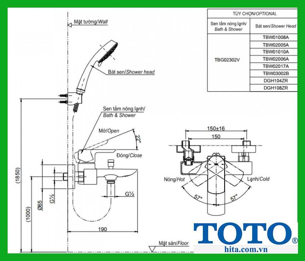 Bộ sen tắm Toto TBG02302V TBW01010A