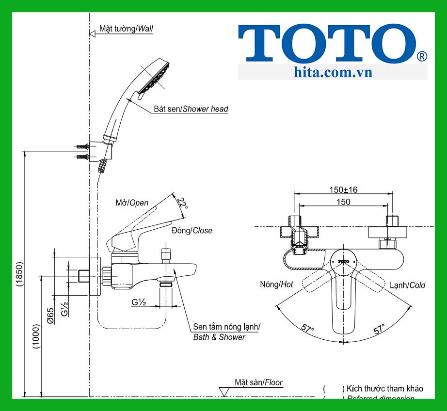 Bộ sen tắm Toto TBG03302V TBW02005A
