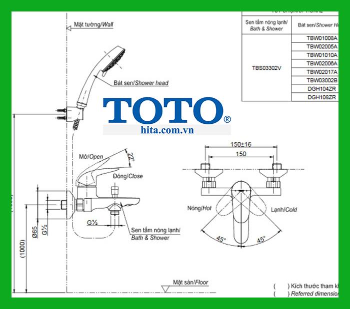 Bộ sen tắm Toto TBS03302V TBW01010A