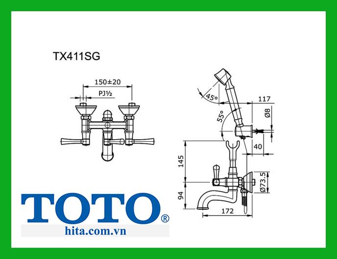 Bộ sen tắm Toto TX411SG