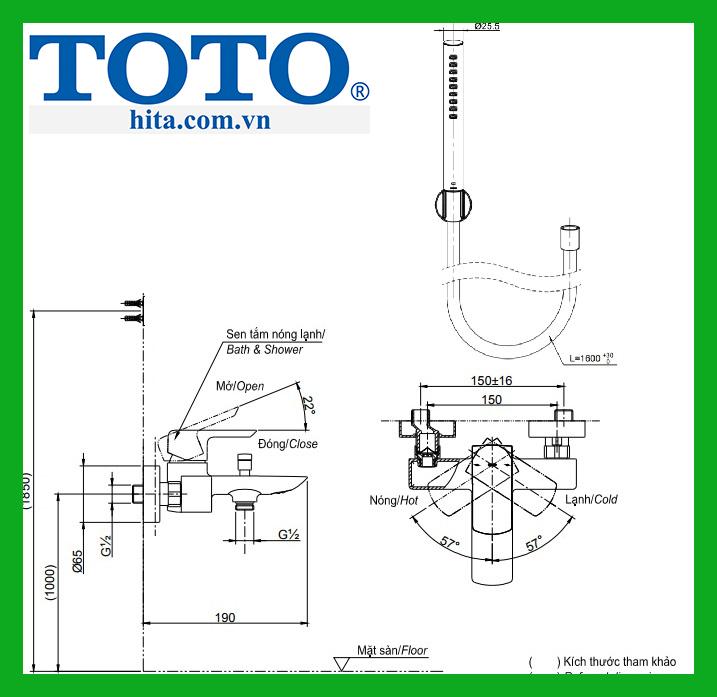 Bộ sen tắm nóng lạnh TOTOTBS04302V TBW02017A 1