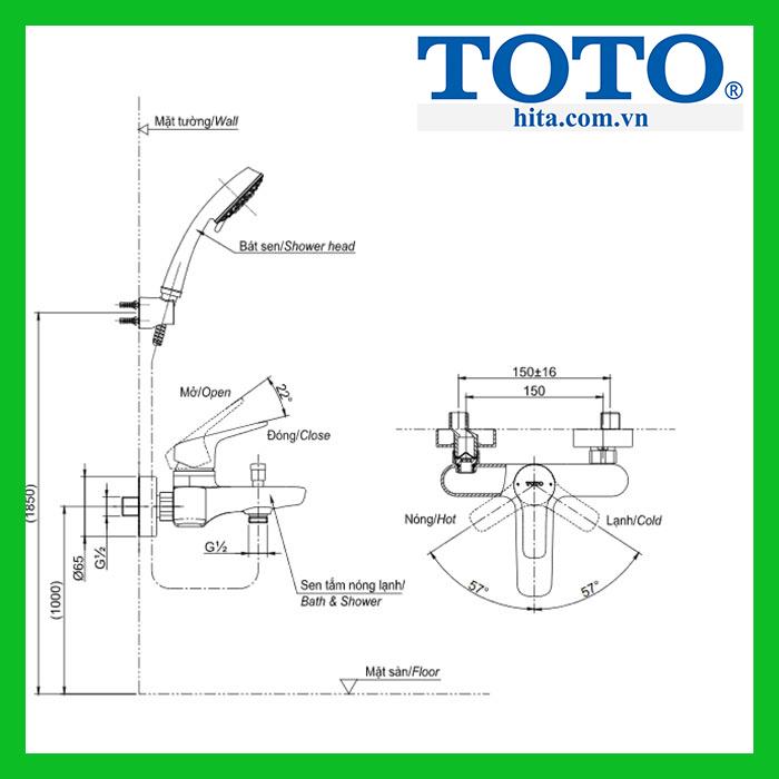 Bộ sen tắm nóng lạnh Toto TBG03302V TBW01010A