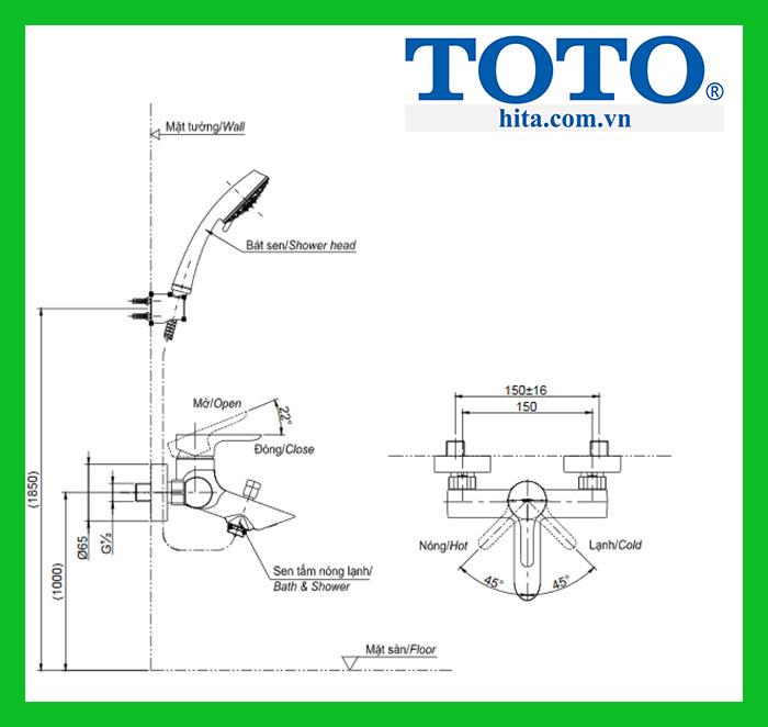 Bộ sen tắm nóng lạnh Toto TBS01302V TBW02006A