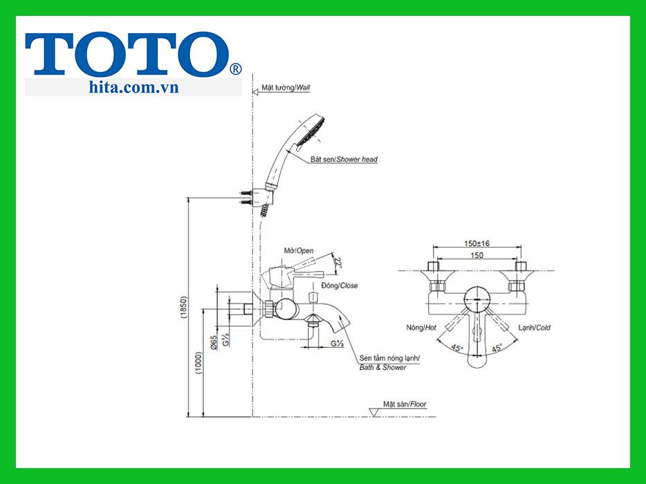 Bộ sen tắm nóng lạnh Toto TBS02302V/ TBW01010A