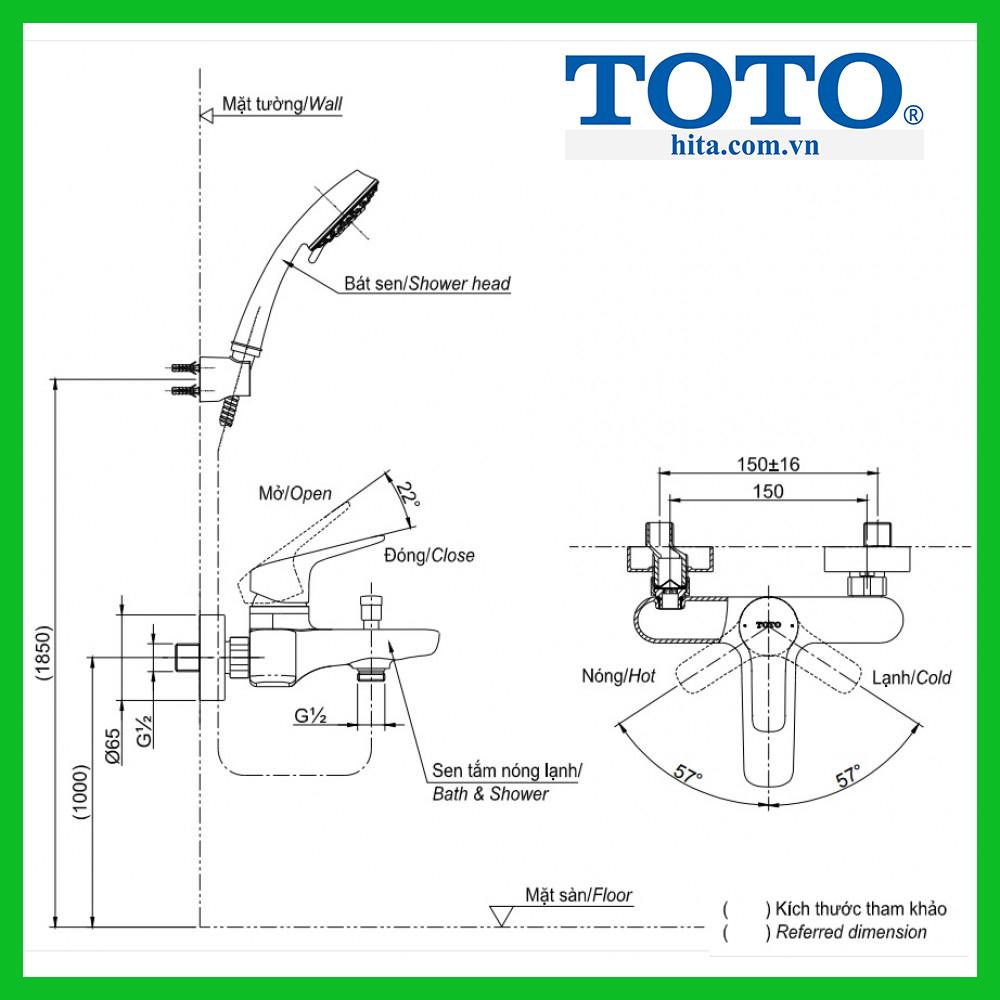 Bộ sen vòi tắm nóng lạnh Toto TBG01302V TBW03002B