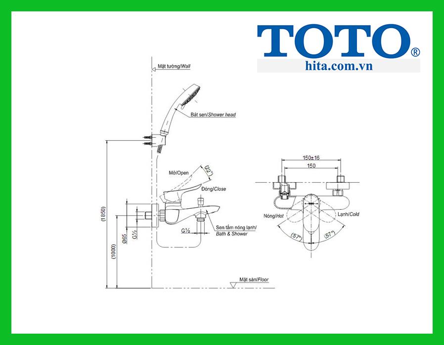 Bộ vòi sen nhiệt độ Toto TBG01302V TBW02006A