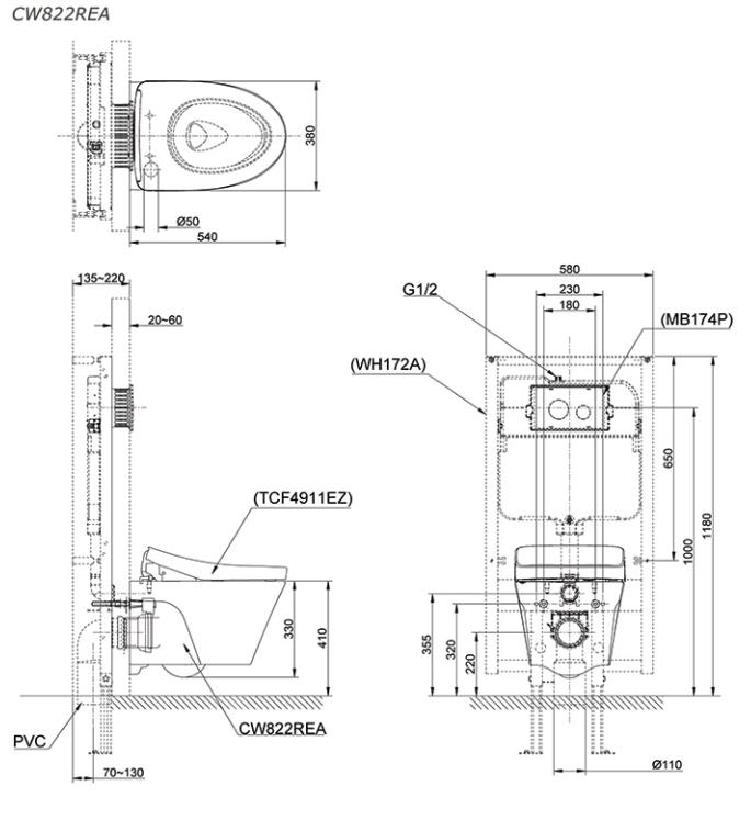 Bồn cầu treo tường kết hợp nắp rửa điện tử TOTO CW822REA/TCF4911EZ