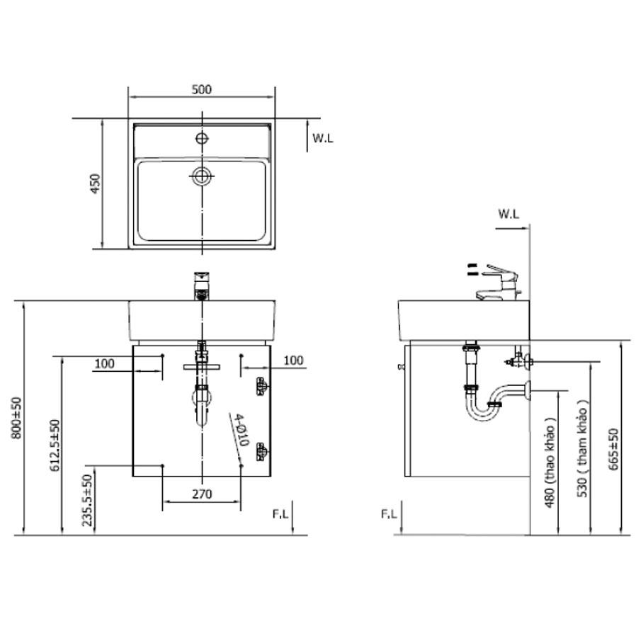 Cabinet Inax CB0504-5QF-B - Bộ tủ chậu màu gỗ đậm
