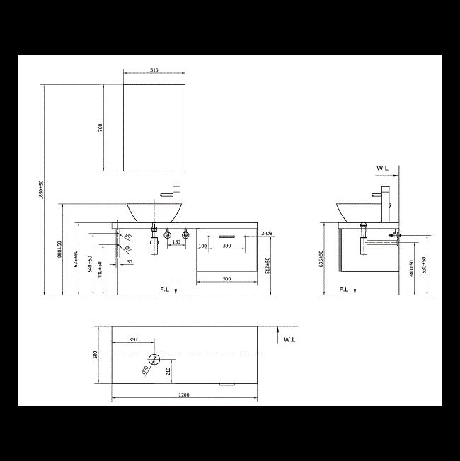 Cabinet Inax CB1206-5QF-B - Bộ tủ chậu màu gỗ đậm