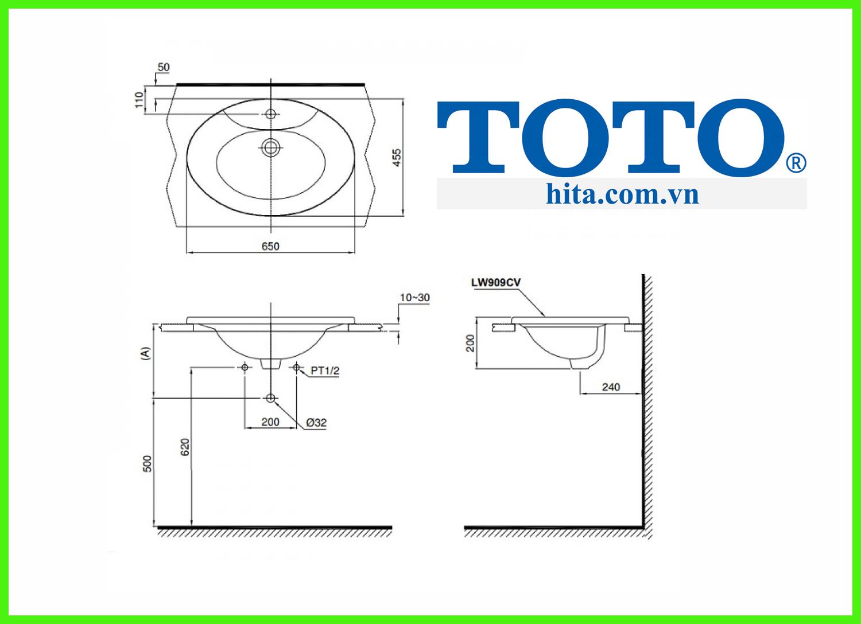 Chậu Rửa Dương Vành Toto L909C bản vẽ