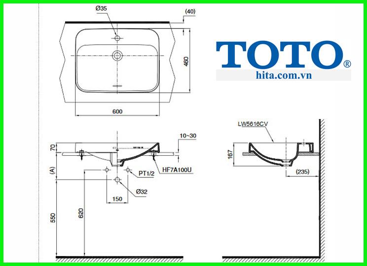 Chậu rửa đặt bàn Toto LT5616C bản vẽ