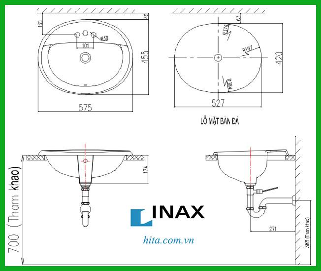 Chậu rửa mặt dương vành lavabo Inax GL-2395V