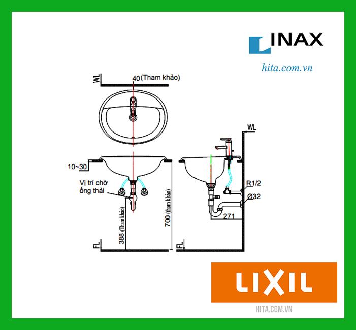 Chậu rửa mặt dương vành lavabo Inax L-2295V