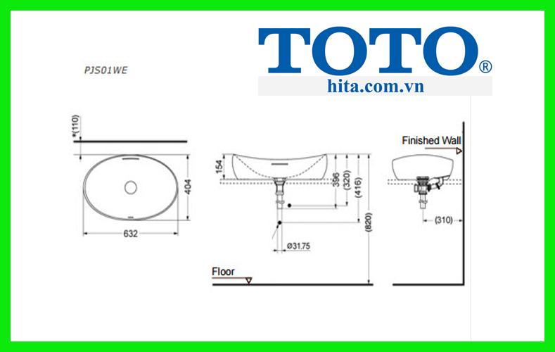 Chậu rửa mặt lavabo đặt bàn Toto PJS01WE#MW bản vẽ