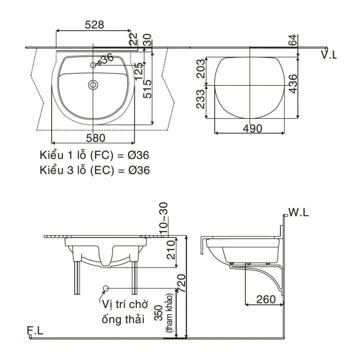 Lavabo âmbànINAX GL-2094V công nghệ Proguard