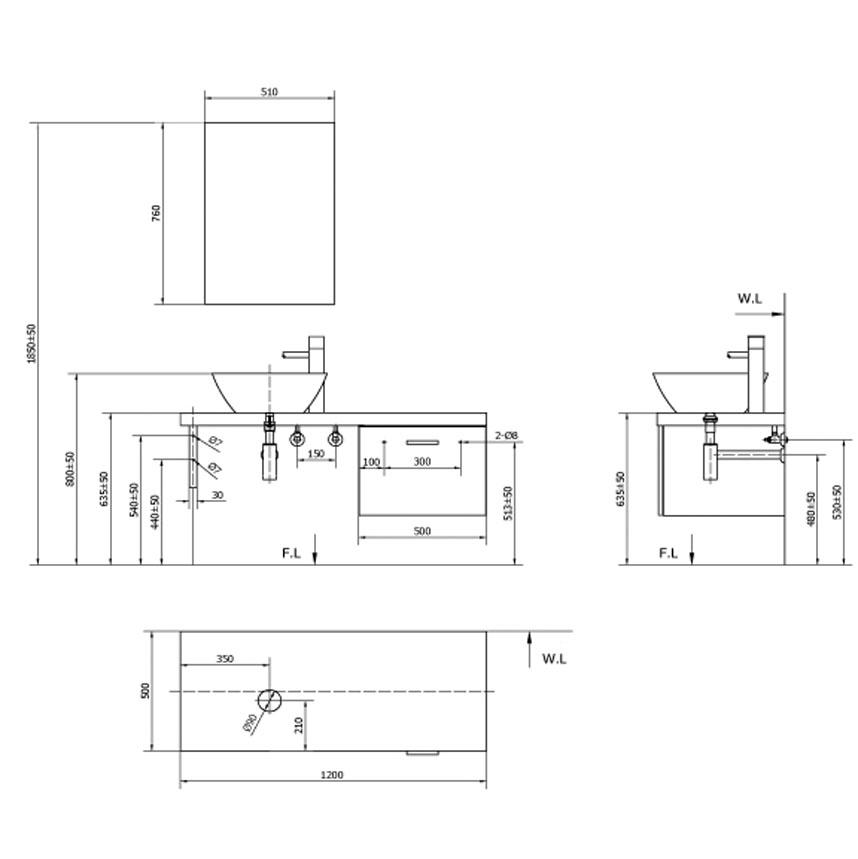 Cabinet Inax CB0504-4IF-B - Bộ tủ chậu màu gỗ nhạt