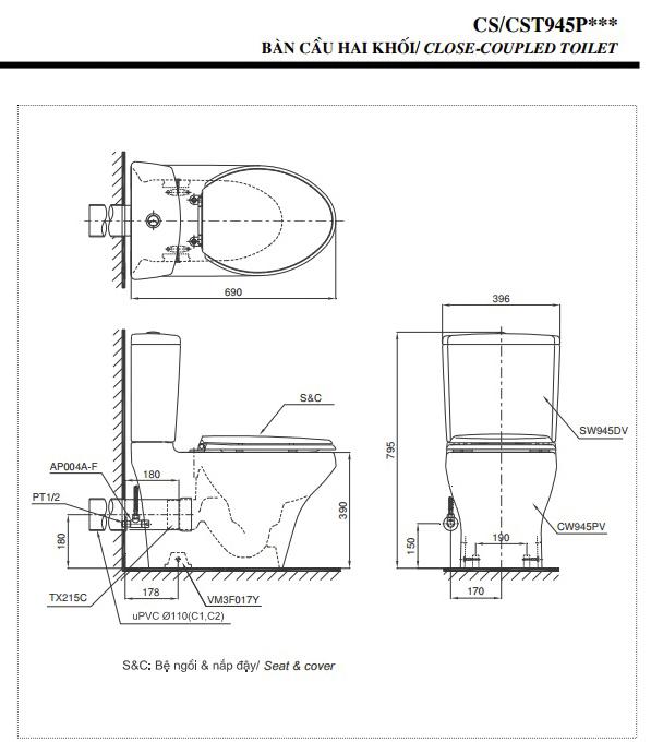 Kích thước bồn cầu Toto 2 khối CS945