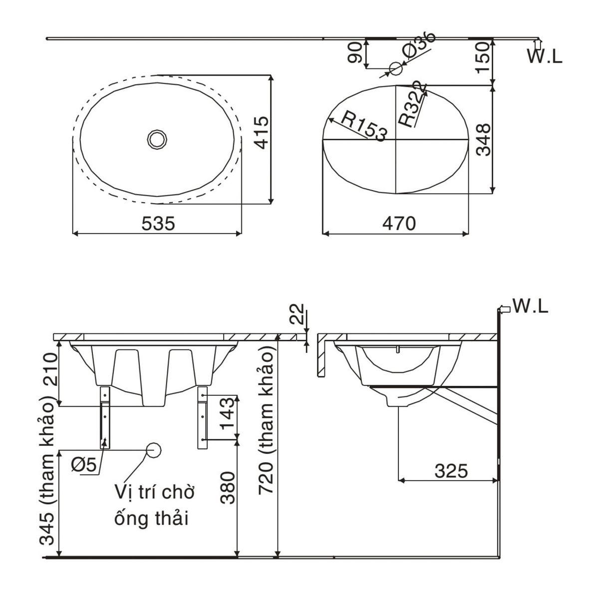 Chậu âm bàn Inax L-2293V - Bồn lavabo rửa mặt âm bàn đá hình tròn