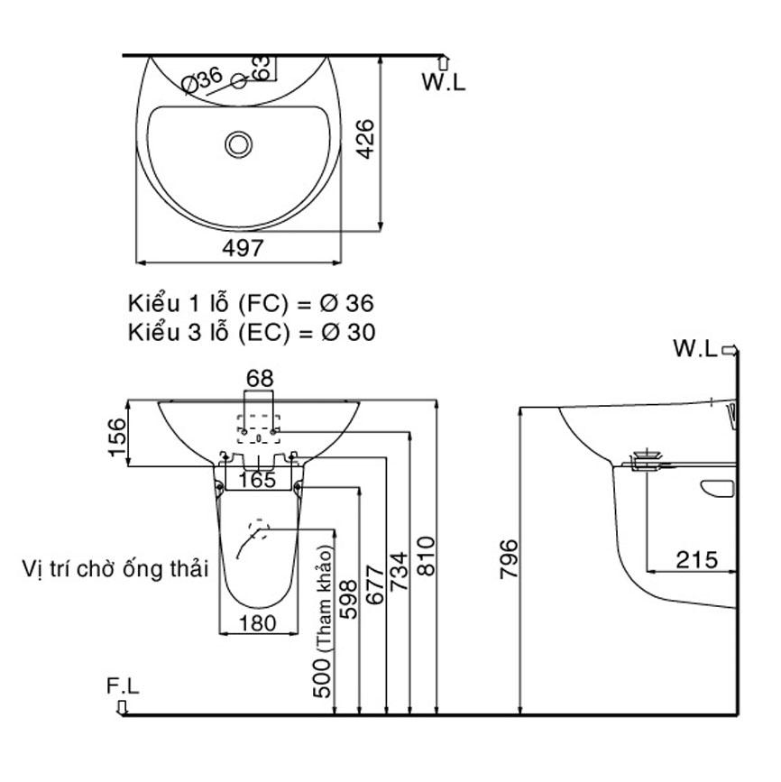 Lavabo treo tườngINAX GL-285V & L288VC