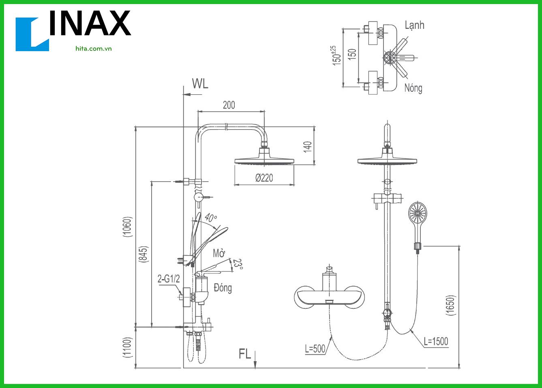 Thông số kỹ thuật sen cây Inax BFV-41S