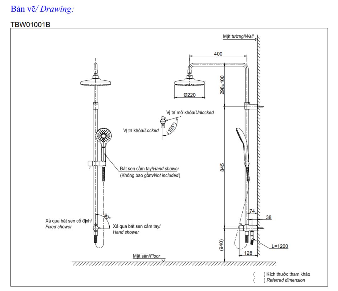 Thông số kĩ thuật bộ sen cây TOTO TBW01001B+TBS01302V+TBW01008A