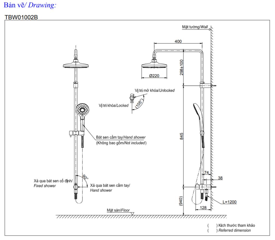 Thông số kĩ thuật Bộ sen cây tắm nóng lạnh TOTO TBW01002B+TBG03302V+TBW01010A