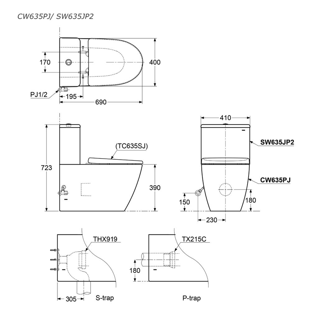 Thông số kĩ thuật bồn cầu 2 khối TOTO CW635PJ/SW635JP2