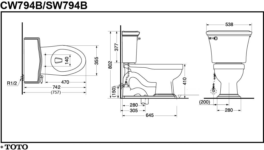 Thông số kĩ thuật bồn cầu 2 khối CW794B/SW794B