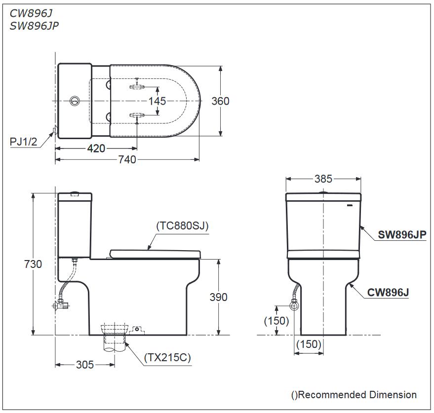 Thông số kĩ thuật bồn cầu 2 khối TOTO CW896J/SW896JP