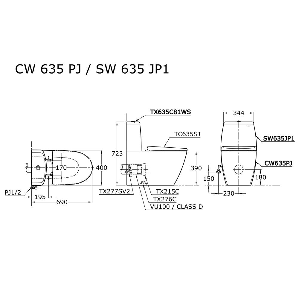 Thông số kĩ thuật bồn cầu 2 khối TOTO CW635PJWS/SW635JP1/TC635SJ