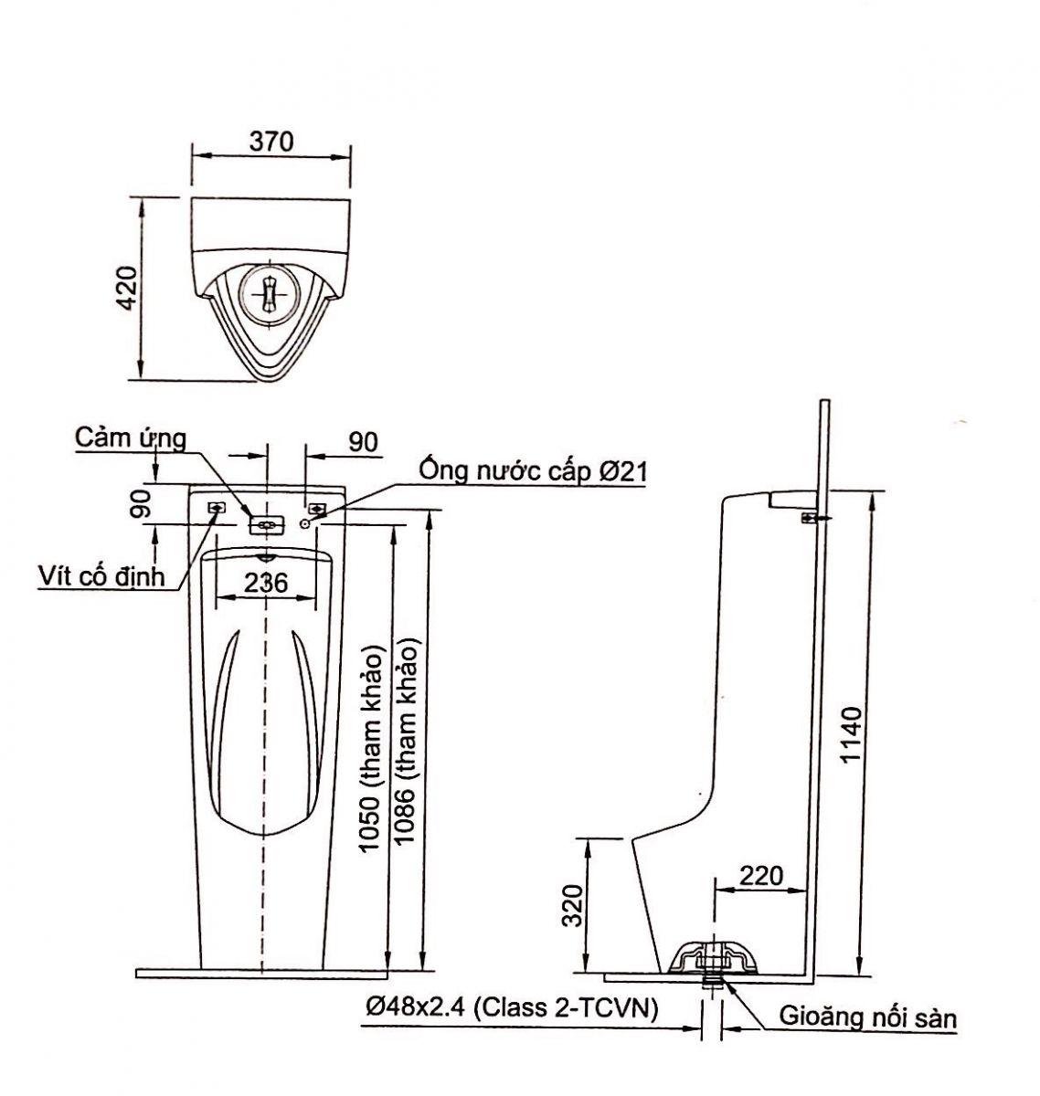 Thông số kĩ thuật Bồn tiểu nam cảm ứng INAX AFU-600VAC
