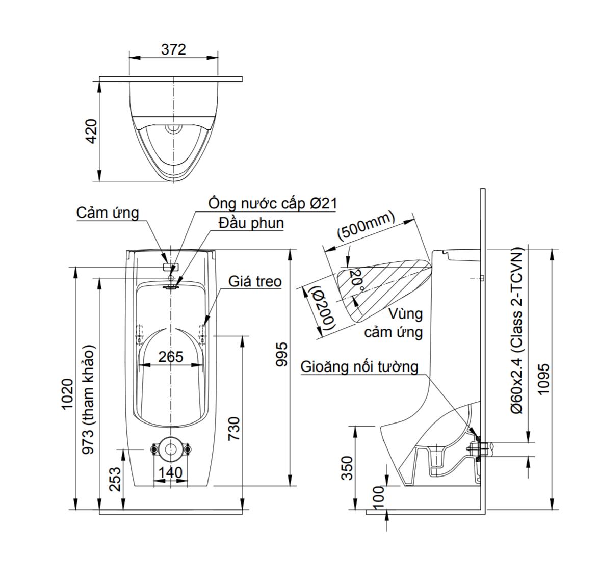 Thông số kĩ thuật Bồn tiểu nam cảm ứng INAX ASU-500V