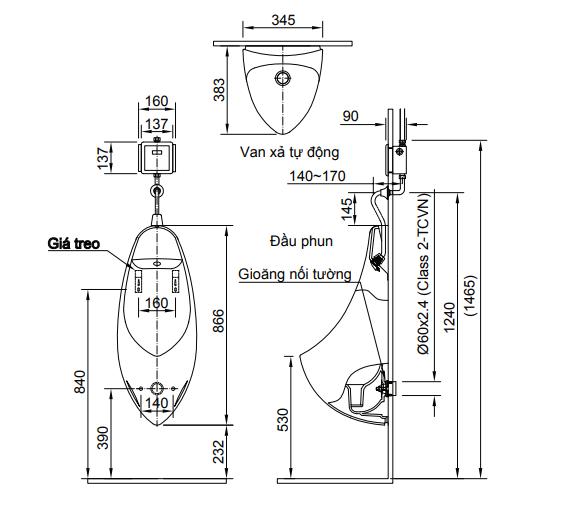 Thông số kĩ thuật Bồn tiểu nam INAX AU-417V