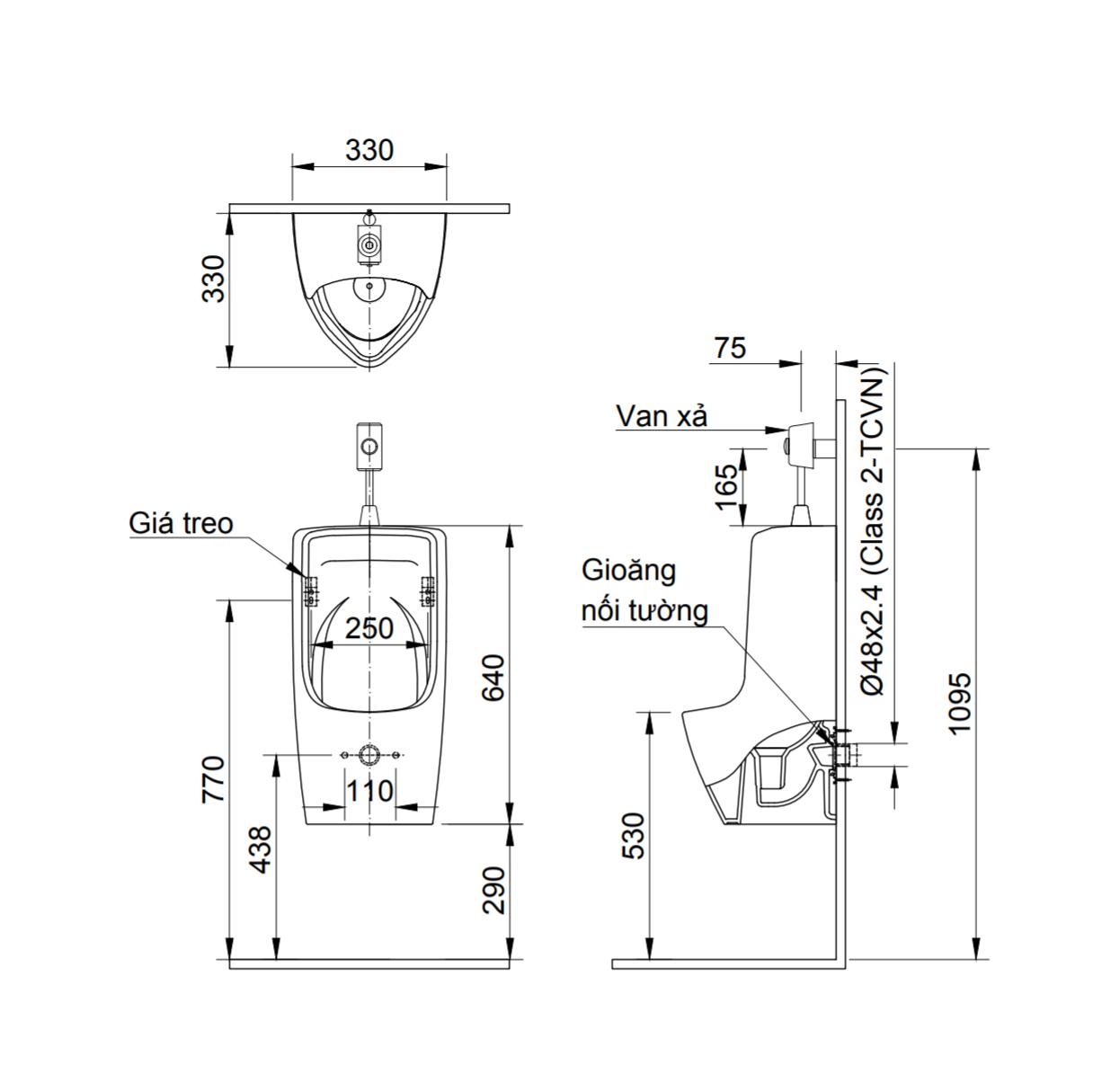 Thông số kĩ thuật Bồn tiểu nam INAX AU-431VR