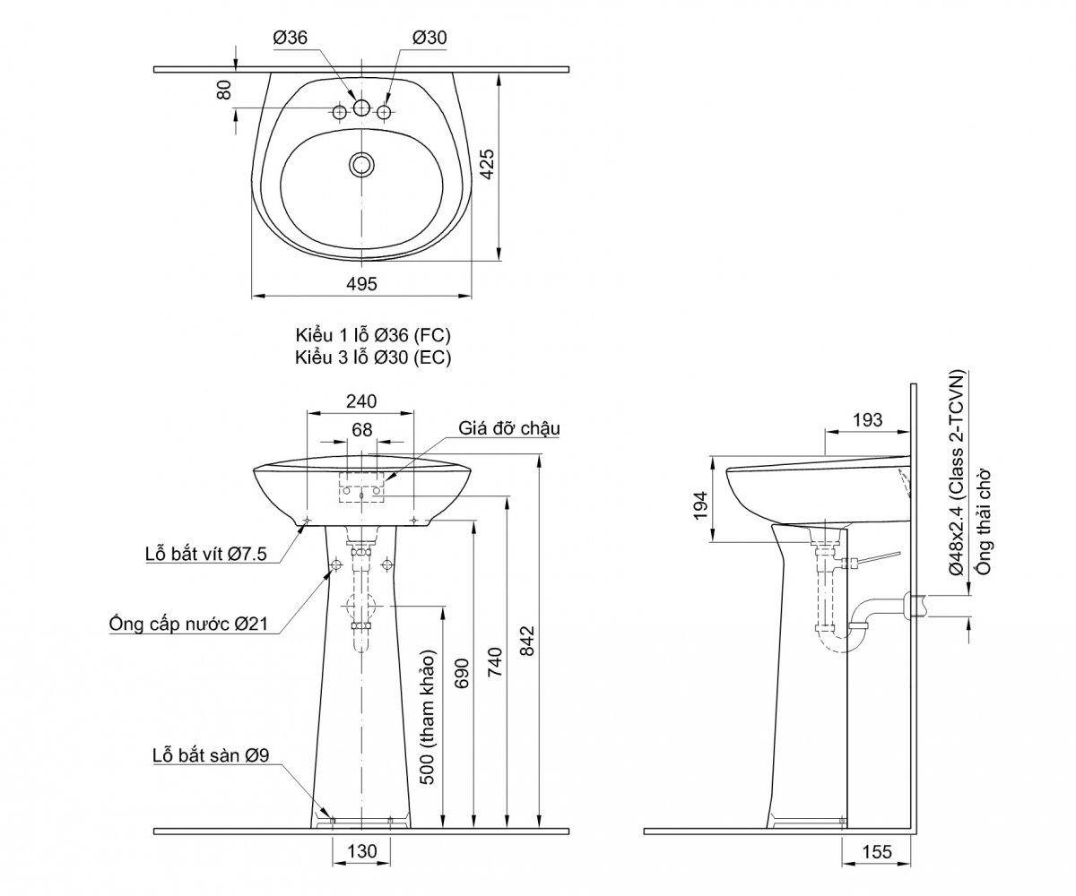 Thông số kĩ thuật chân chậu lavabo dài INAX L-284VD