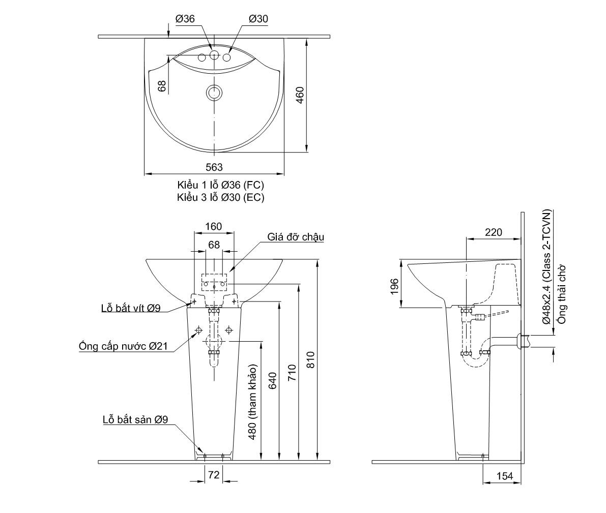 Thông số kĩ thuật chân chậu lavabo dài INAX L-288VD